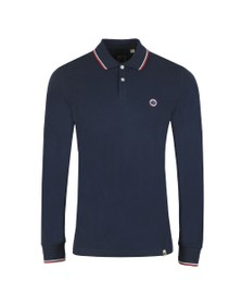 Pretty Green Mens Blue L/S Tipped Polo Shirt