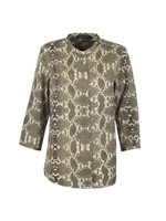 Snake Print Collarless Shirt
