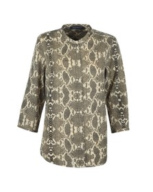 French Connection Womens Black Snake Print Collarless Shirt
