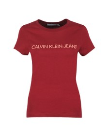 Calvin Klein Jeans Womens Red Institutional Logo T Shirt