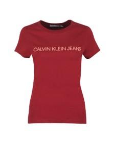Calvin Klein Jeans Womens Red Institutional Logo T Shirt