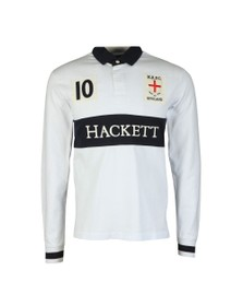 Hackett Mens White England Rugby Polo Shirt