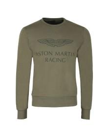 Hackett Mens Green AMR Print Crew Sweatshirt