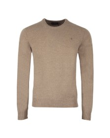 Hackett Mens Beige Lambswool Crew Jumper