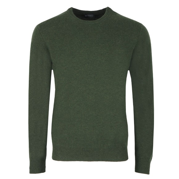 Hackett Mens Green Lambswool Crew Jumper