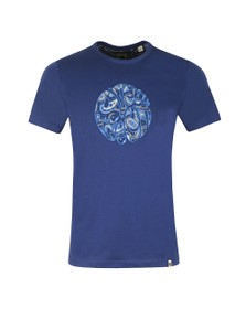Pretty Green Mens Blue Paisley Applique T-Shirt