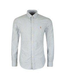 Polo Ralph Lauren Mens Grey Slim Fit Stripe Shirt
