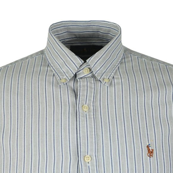Polo Ralph Lauren Mens Grey Slim Fit Stripe Shirt main image