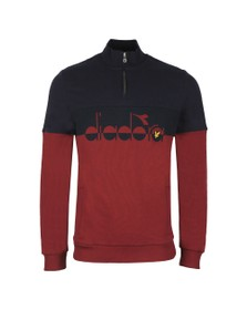 Lyle & Scott x diadora Mens Red Printed Logo 1/2 Zip