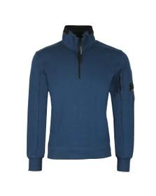 C.P. Company Mens Blue Detailed Neck Half Zip Sweatshirt