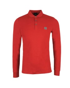 BOSS Mens Red Casual Passerby Long Sleeve Polo Shirt