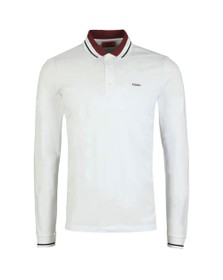 HUGO Mens White Donol201 Long Sleeve Polo Shirt