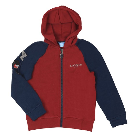 Lanvin Boys Red Contrast Sleeve Zip Hoody