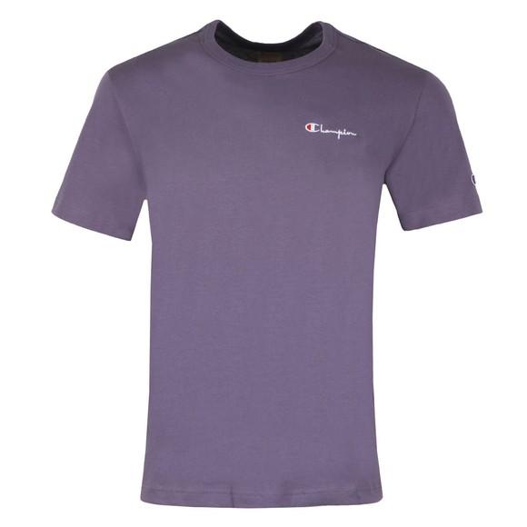 Champion Reverse Weave Mens Purple Small Script Logo T-Shirt