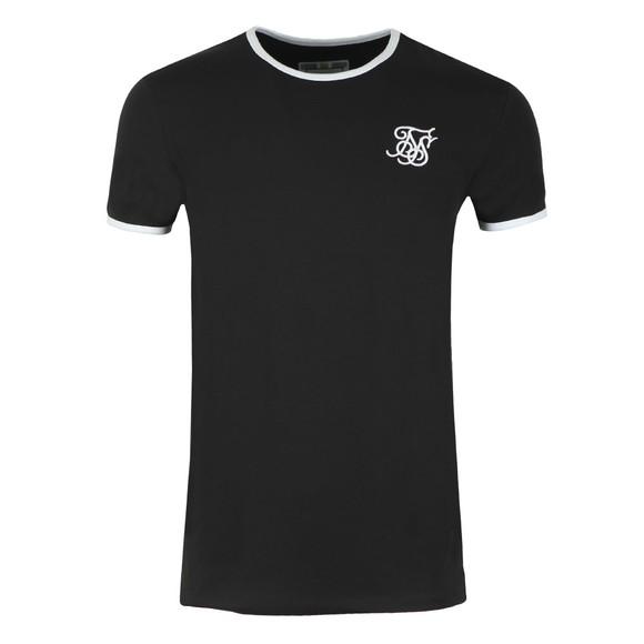 Sik Silk Mens Black Straight Hem Ringer T-Shirt main image