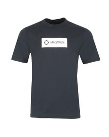 Ma.Strum Mens Blue Icon Box Logo T-Shirt