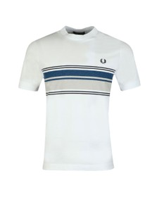 Fred Perry Mens White Marl Stripe T-Shirt