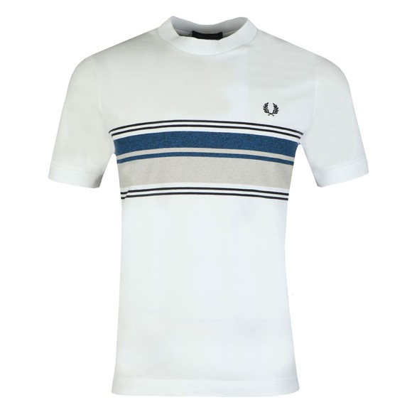 Fred Perry Mens White Marl Stripe T-Shirt main image