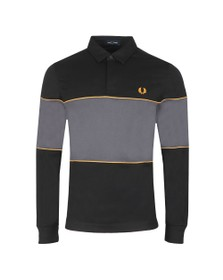 Fred Perry Mens Black L/S Panel Polo Shirt
