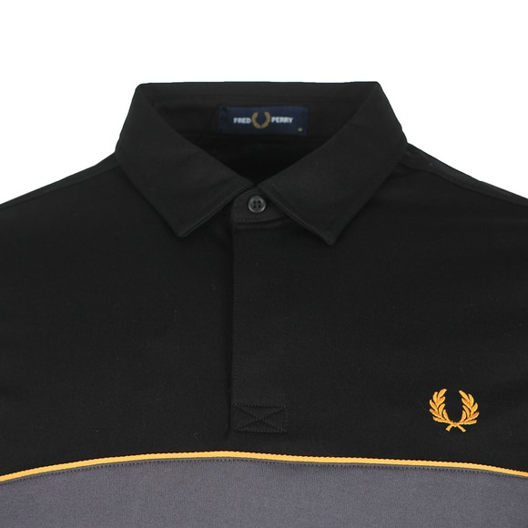 Fred Perry Mens Black L/S Panel Polo Shirt main image