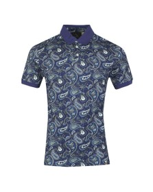 Pretty Green Mens Blue Paisley Print Polo Shirt