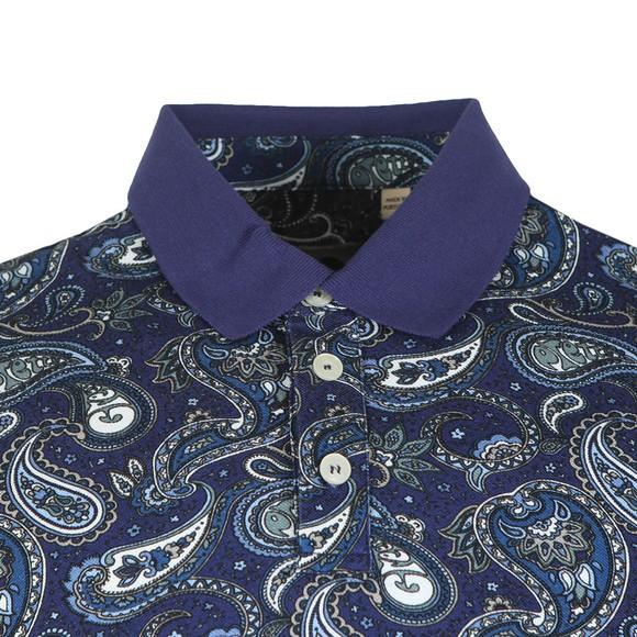 Pretty Green Mens Blue Paisley Print Polo Shirt main image