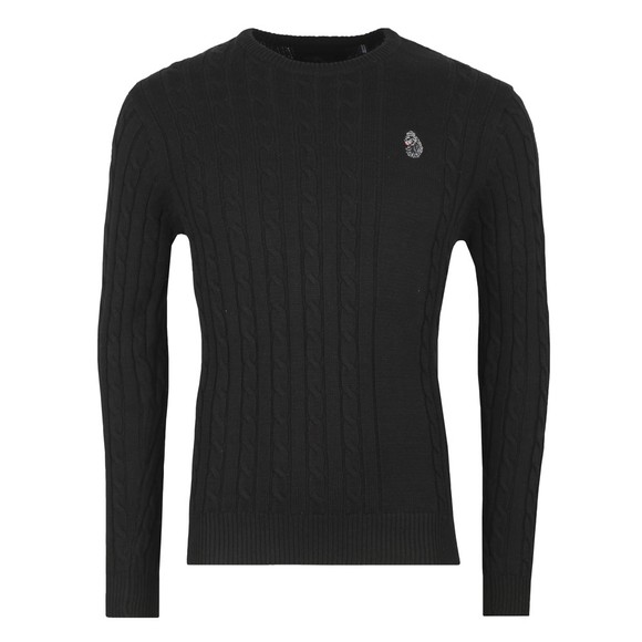 Luke 1977 Mens Black Hortons Cable Jumper