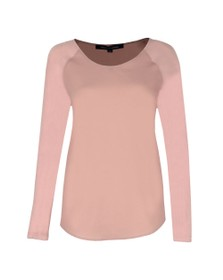 French Connection Womens Pink Crepe Light Raglan Sleeve Top