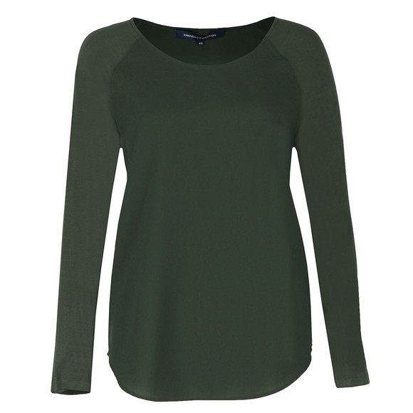French Connection Womens Green Crepe Light Raglan Sleeve Top main image