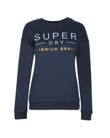 Superdry Womens Blue Applique Crew Sweatshirt