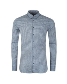BOSS Mens Blue Casual Magneton Patterned Shirt