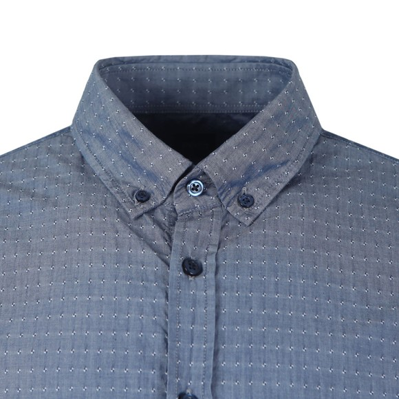 BOSS Mens Blue Casual Mabsoot Patterned Shirt