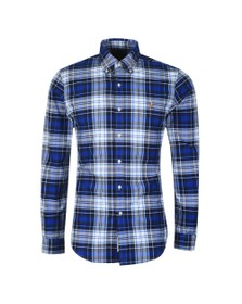 Polo Ralph Lauren Mens Blue Slim Fit Check Flannel Shirt