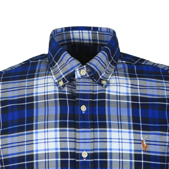 Polo Ralph Lauren Mens Blue Slim Fit Check Flannel Shirt