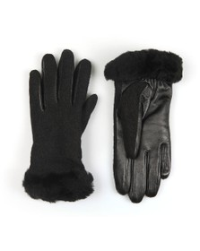 Ugg Womens Black Fabric Leather Shorty Glove