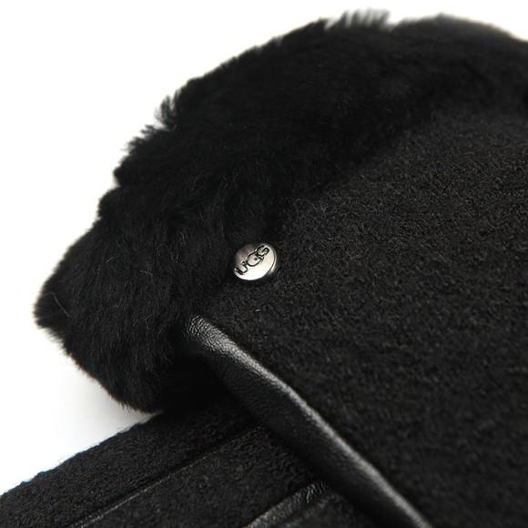 Ugg Womens Black Fabric Leather Shorty Glove main image