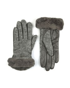 Ugg Womens Grey Fabric Leather Shorty Glove