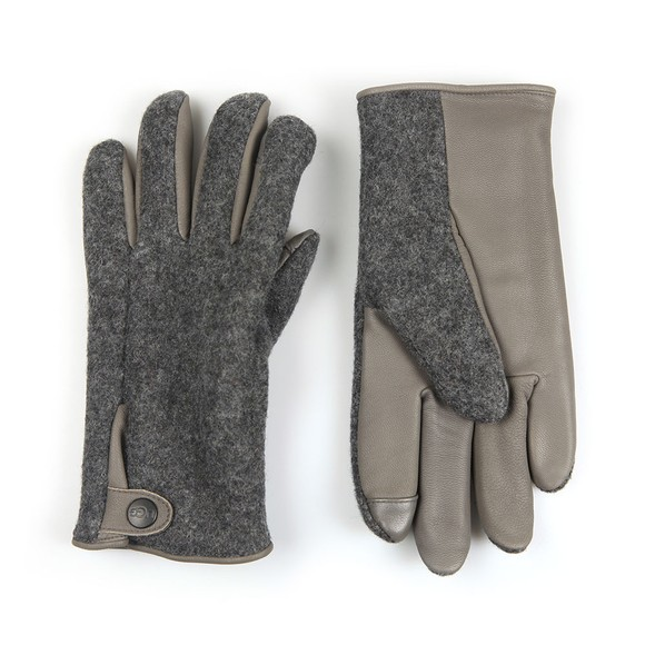 Ugg Mens Grey Snap Tab Fabric Tech Glove