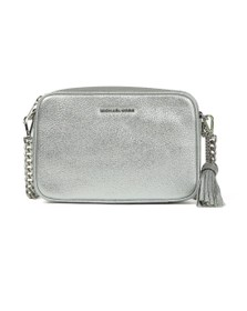 Michael Kors Womens Silver Ginny Metallic Leather Crossbody
