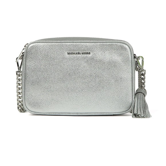 Michael Kors Womens Silver Ginny Metallic Leather Crossbody main image