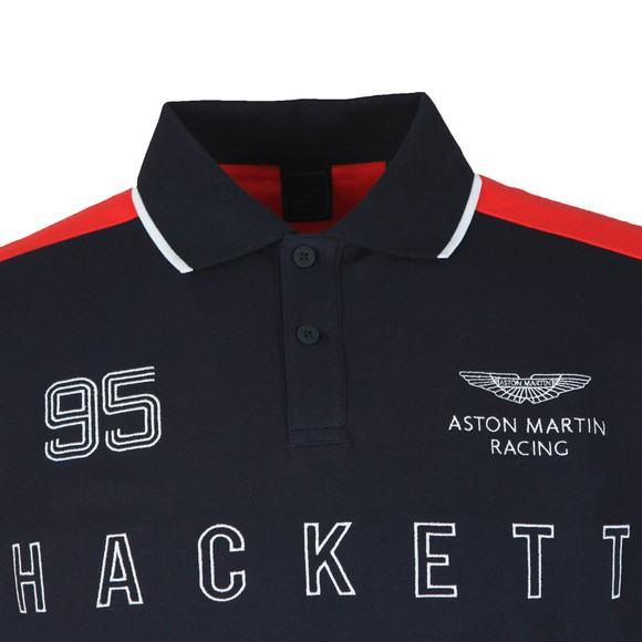Hackett Mens Blue L/S AMR Polo Shirt main image