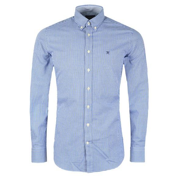 Hackett Mens Blue Mini Check Shirt