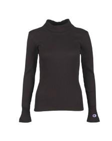Champion Reverse Weave Womens Black Rib Turtle Neck Long Sleeve T Shirt