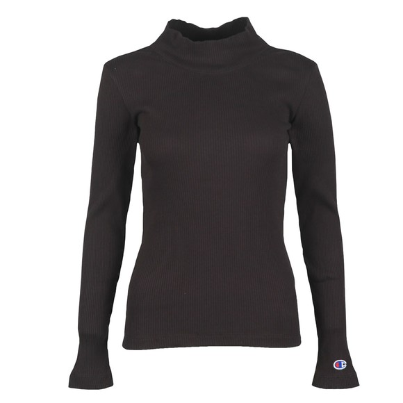 Champion Reverse Weave Womens Black Rib Turtle Neck Long Sleeve T Shirt