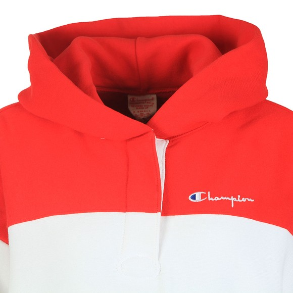 Champion Reverse Weave Womens Red Triple Panel Overhead Hoody