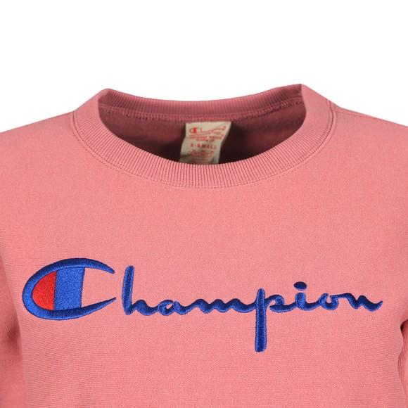 Champion Reverse Weave Womens Pink Large Script Logo Crew Sweatshirt