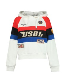 Polo Ralph Lauren Womens White Cropped Graphic Hoody