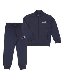 EA7 Emporio Armani Boys Blue Boys Full Zip Funnel Neck Tracksuit