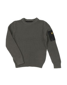 Lyle And Scott Junior Boys Grey Ribbed Knitted Jumper