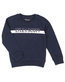 Lyle And Scott Junior Boys Blue Block Logo Crew Sweatshirt